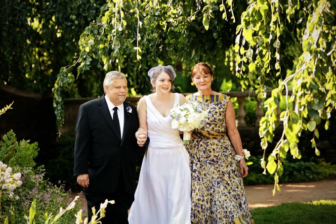 6. Chicago Botanic Garden Wedding. Life on Prints. Sweetchic Events. Bride Walking with Parents Down the Aisle.