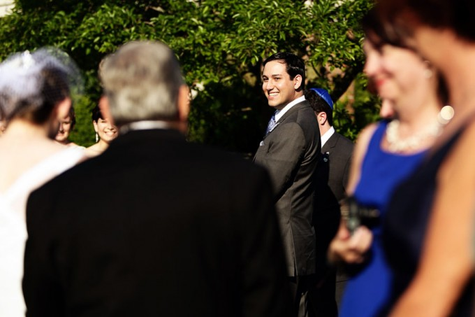 7. Chicago Botanic Garden Wedding. Life on Prints. Sweetchic Events. Groom Getting a First Look of Bride at Ceremony