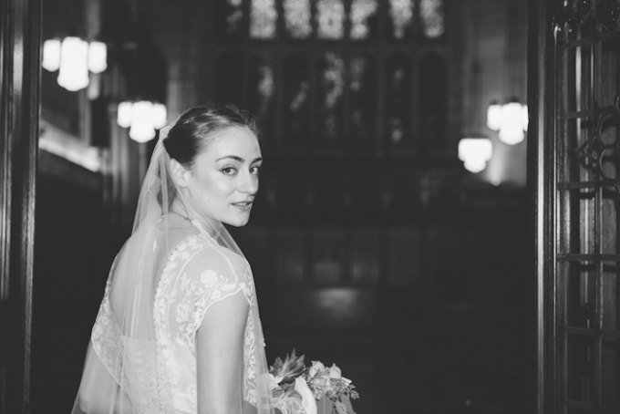 Ida Noyes Theater Wedding. Rose Tinted Lens Photography. Sweetchic Events. Bride heading in Bond Chapel.