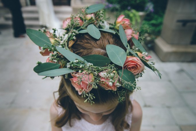Ida Noyes Theater Wedding. Rose Tinted Lens Photography. Sweetchic Events.  Flor Del Monte. Floral Flowergirl wreath headband. Peach Spray Roses, Cream Wax Flower.