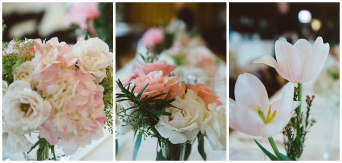 Ida Noyes Theater Wedding. Rose Tinted Lens Photography. Sweetchic Events. Flor Del Monte. Hydrangea, Peony, and Dutch Tulip Centerpieces.