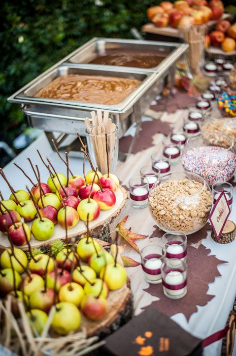 Candied Apples  The ultimate fall late night snack buffet -- making your own candy apples.  Bridal Guide