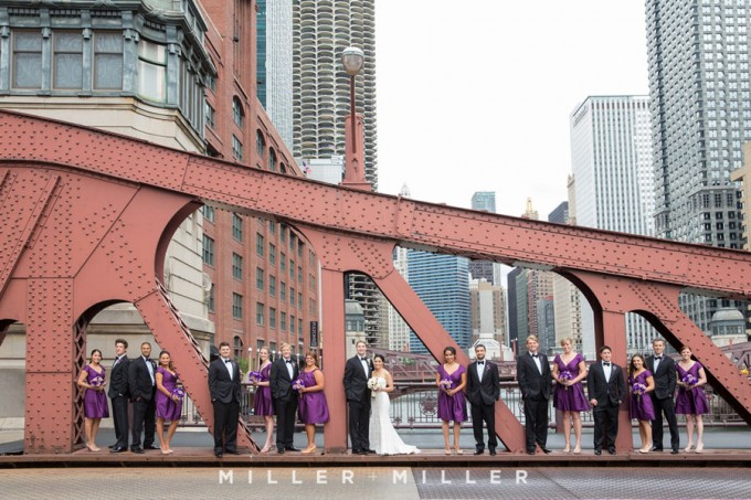 Wabash street bridge Chicago wedding party photos