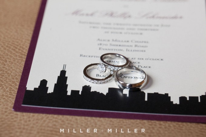 2. Germania Place Wedding. Miller & Miller Photography. Sweetchic Events. Rings on Chicago Skyline Invitation.