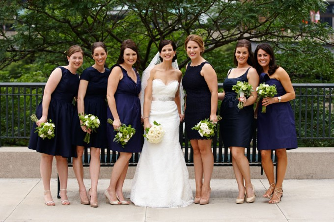 20. River East Art Center Wedding. Dennis Lee Photography. Sweetchic Events. Bridesmaids in Navy Blue Dresses.