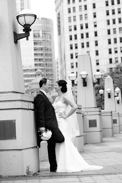 21. River East Art Center Wedding. Dennis Lee Photography. Sweetchic Events. Bride and Groom near Chicago River.