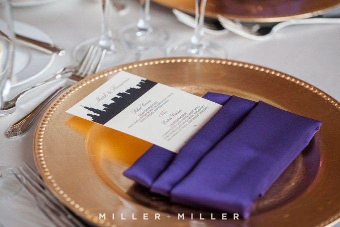 35. Germania Place Wedding. Miller & Miller Photography. Sweetchic Events. Chicago Skyline Pocket Menus. gold chargers
