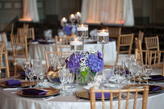 37. Miller Miller Sweetchic Events. Vale of Enna. Collection centerpiece of purple hydrangea, lilies, orchids.
