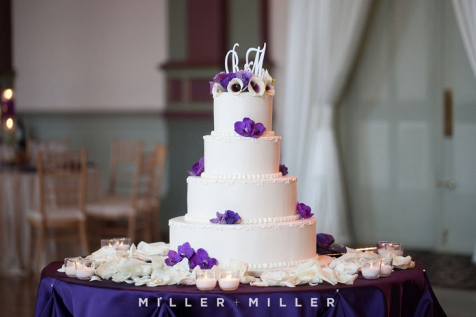 42. Germania Place Wedding. Miller & Miller Photography. Sweetchic Events. White Cake with Monogram Cake Topper