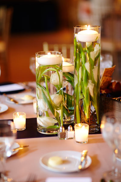 42. River East Art Center Wedding. Dennis Lee Photography. Sweetchic Events. Revel Decor. Submerged Tulip Centerpieces.