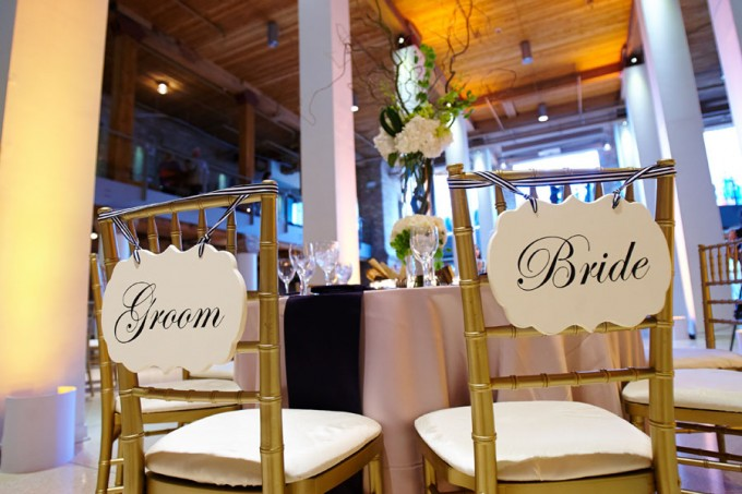 43. River East Art Center Wedding. Dennis Lee Photography. Sweetchic Events. Bride and Groom Chair Signs.