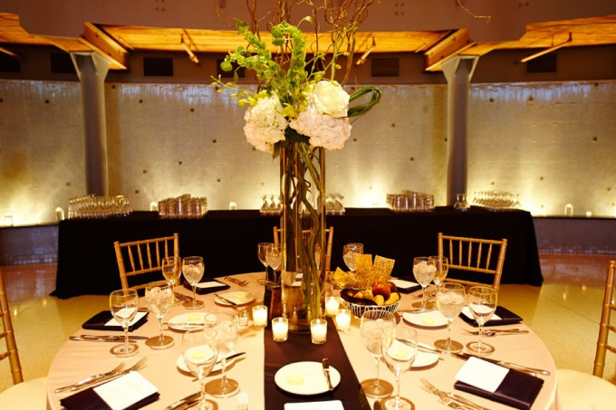 44. River East Art Center Wedding. Dennis Lee Photography. Sweetchic Events. Revel Decor. Tall Centerpiece with Curly Willow and Hydrangea