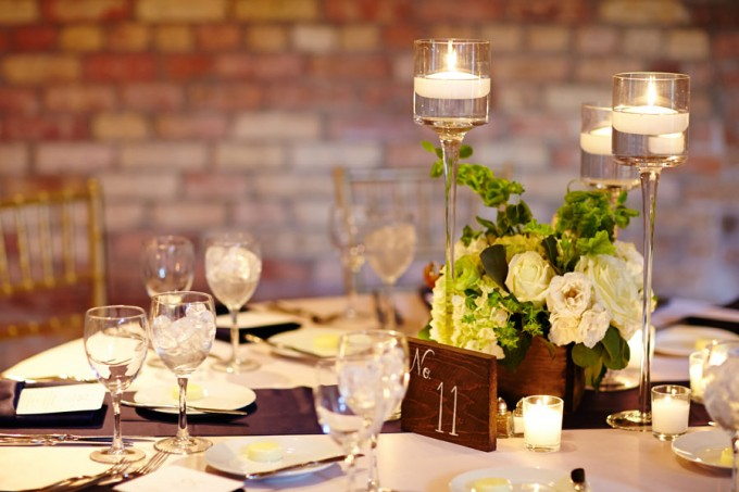 46. River East Art Center Wedding. Dennis Lee Photography. Sweetchic Events. Revel Decor. Collection of Tall Votive Holder with Rustic Flower Box.