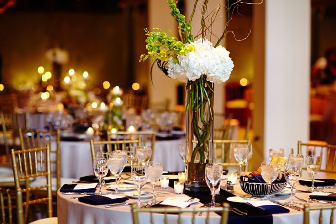 51. River East Art Center Wedding. Dennis Lee Photography. Sweetchic Events.Revel Decor. Tall Curly Willow and Hydrangea Centerpieces.