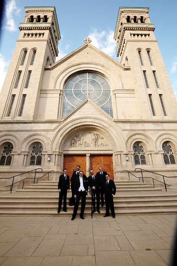 11. Germania Place Wedding. Dennis Lee Photography. Sweetchic Events. Groomsmen in Front of Chapel.