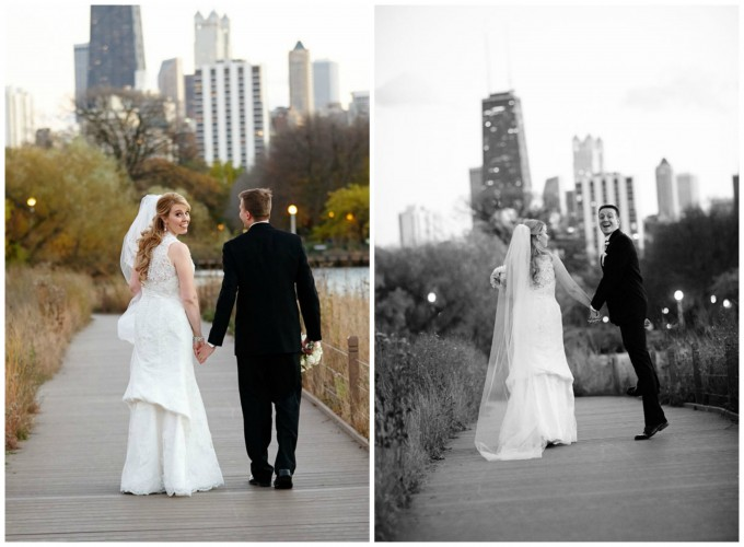 21. Germania Place Wedding. Dennis Lee Photography. Sweetchic Events. Bride and Groom on Wood Boardwalk. Lincoln Park Wedding.