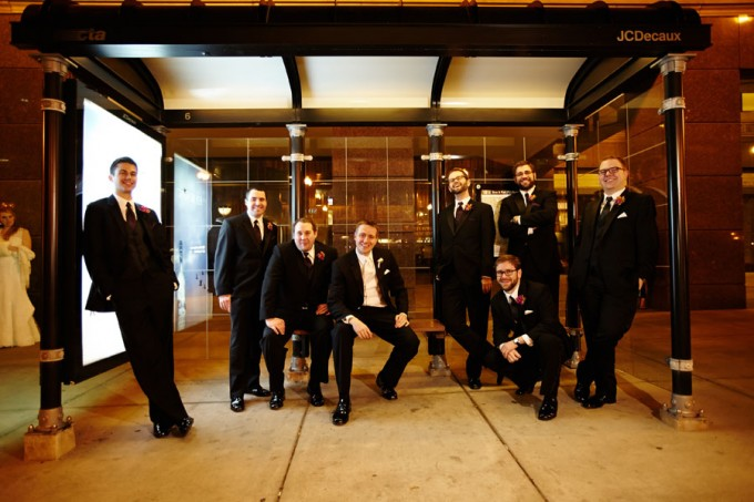 23. Germania Place Wedding. Dennis Lee Photography. Sweetchic Events. Groomsmen in Bus Stop.
