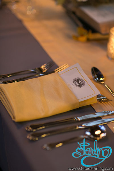 27. U of C Hutchinson Commons Wedding. Studio Starling. Sweetchic Events. Grey Table Linens with Yellow Napkins with Pocket Menus.