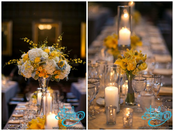 28. U of C Wedding. Studio Starling. Sweetchic Events. Exquisite Design. White Hydrangea, Yellow Rose, Orchids, Dusty Miller, Dahlia, Sray Rose Centerpieces with Candles.