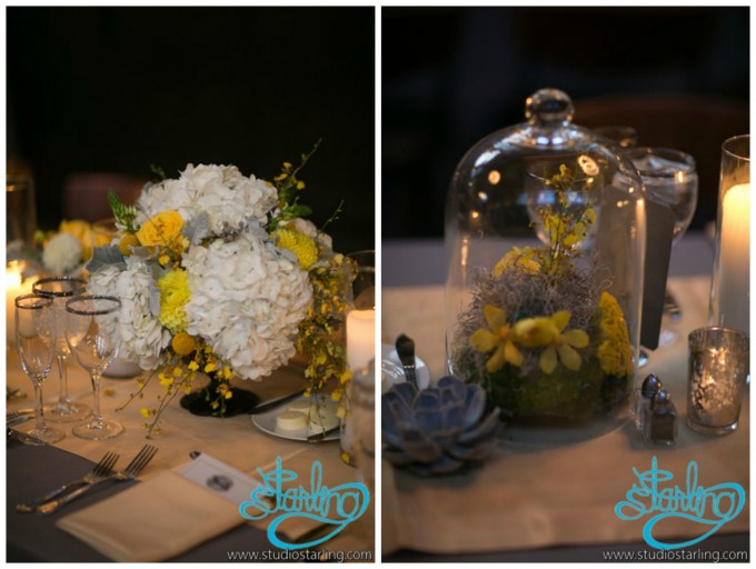 29. U of C Hutchinson Commons Wedding. Studio Starling. Sweetchic Events. Exquisite Design. Cloche Centerpiece with yellow dahlias spray roses, lisianthus, orchids.