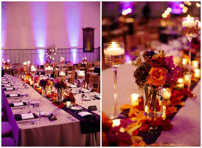 30. Germania Place Wedding. Dennis Lee Photography. Sweetchic Events.Vale of Enna. Head Table Arrangement. Accents of orange purple, and fushia.