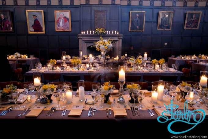 31. U of C Hutchinson Commons Wedding. Studio Starling. Sweetchic Events. Hutchison Commons Hall. Head Table. Yellow and Grey Feasting Tables.