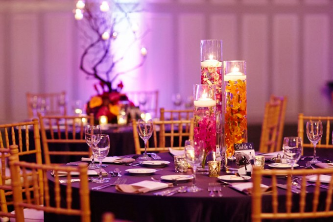 32. Wedding. Dennis Lee Photography. Sweetchic Events. Vale of Enna. Submerged orange calla lillies, purple and fuschia orchid centerpiece.