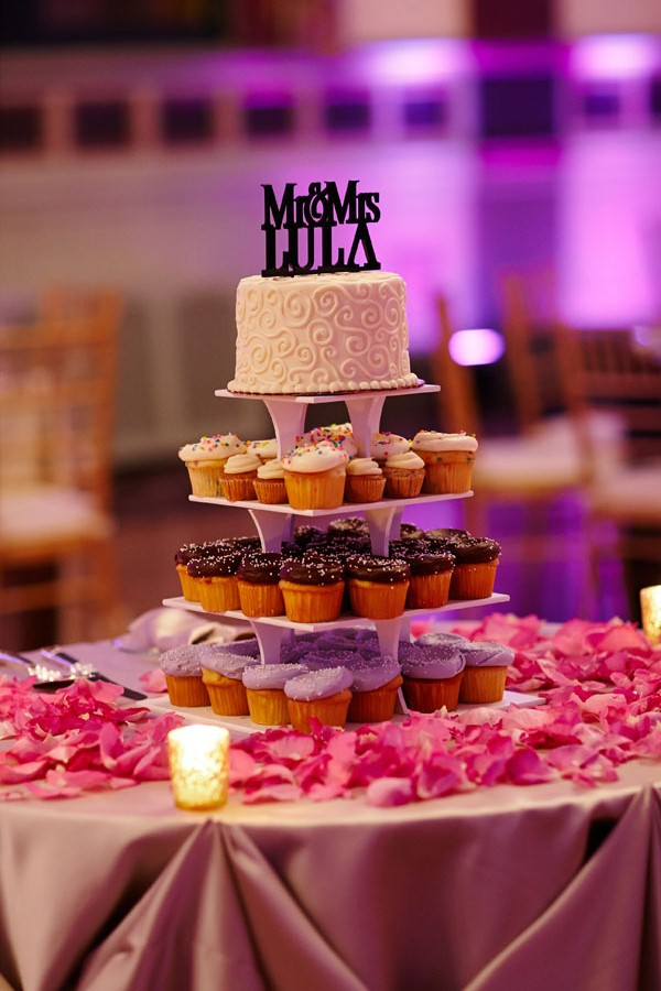 33. Germania Place Wedding. Dennis Lee Photography. Sweetchic Events. Sweet Mandy B's Cupcake Tower with Monogram Cake Topper.
