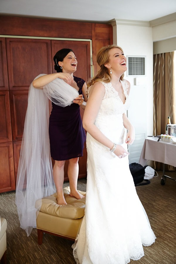 8. Germania Place Wedding. Dennis Lee Photography. Sweetchic Events. Bride and Maid of Honor. Putting on Veil.