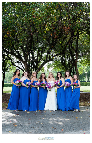 13. Blackstone Hotel Wedding. Deonna Caruso Photography. Sweetchic Events. Bridesmaids. Blue Bridesmaids Long Dresses. Tiffany Garden.