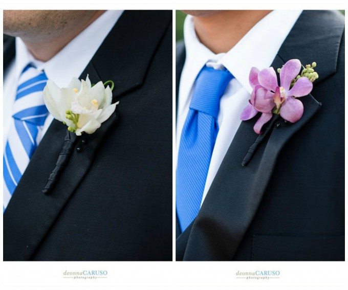 16. Flor Del Monte. Deonna Caruso Photography. Sweetchic Events. Groom's White Cymbidium Orchid Boutonniere. Groomsmen Purple Mokara Orchid Boutonniere.