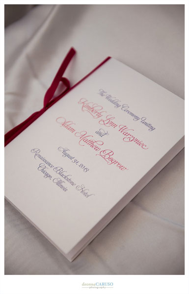 20. Blackstone Hotel Wedding. Deonna Caruso Photography. Sweetchic Events. Burgundy and Ivory Ceremony Programs.