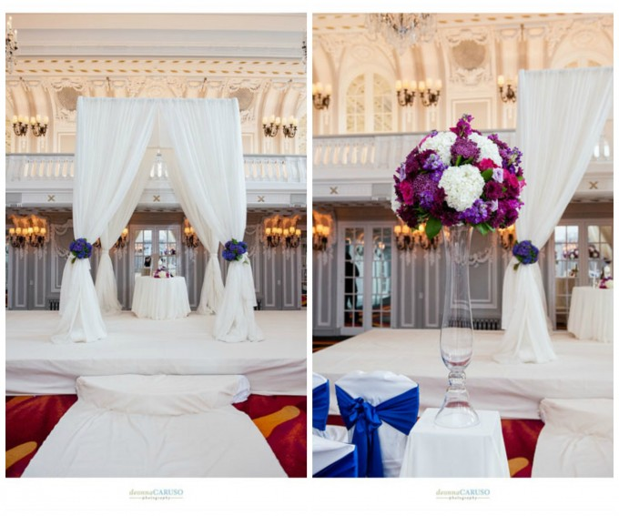 21. Deonna Caruso. Sweetchic Events. Flor Del Monte. Ivory Fabric Chuppah with Purple Hydrangea. Fuchsia Stock, Rose, Cushino Mum Ceremony Arrangement.