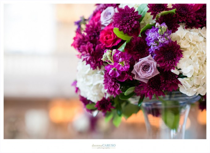 22. Blackstone Hotel. Deonna Caruso Photography. Sweetchic Events. Flor Del Monte. Fuschia and Deep Purple Stock, Roses, Cushion Mums, White Hydrangea