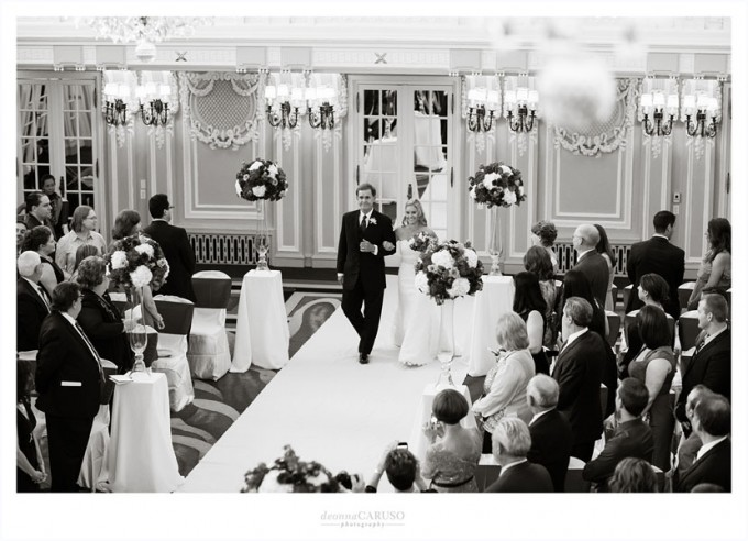 24. Blackstone Hotel Wedding. Deonna Caruso Photography. Sweetchic Events. Bride and Father Walk Down Aisle.