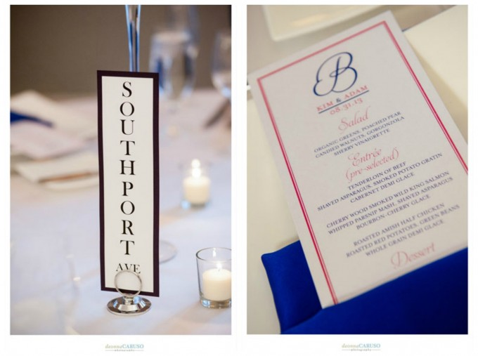 31. Blackstone Hotel Wedding. Deonna Caruso Photography. Sweetchic Events. Chicago Streets Table Numbers. Fuschia and Colbat Menus.