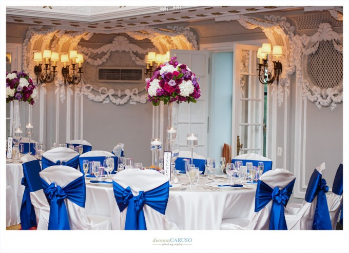 34. Blackstone Hotel. Deonna Caruso Photography. Sweetchic Events. Flor Del Monte. Fuschia, Deep Purple Stock, Rose, Mums, and Hydrangea Centerpieces.