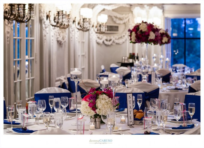 36. Blackstone Hotel. Deonna Caruso Photography. Sweetchic Events. Flor Del Monte. Low Lush Arrangement with three tiered candle holder centerpieces.