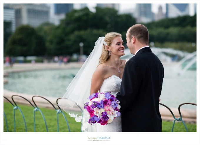 8. Blackstone Hotel Wedding. Deonna Caruso Photography. Sweetchic Events. Bride and Groom. Buckingham Fountain