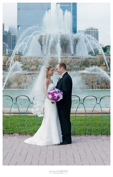 9. Blackstone Hotel Wedding. Deonna Caruso Photography. Sweetchic Events. Bride and Groom Buckingham Fountain.