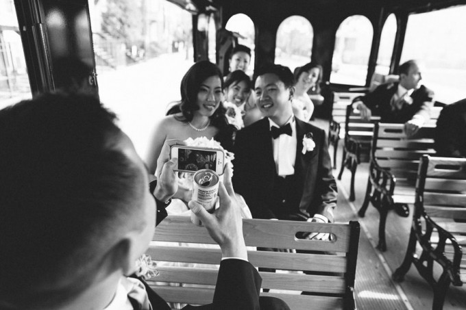 31. Trump Tower Wedding. Pen Carlson Photography. Sweetchic Events. Bridal Party on Trolley.