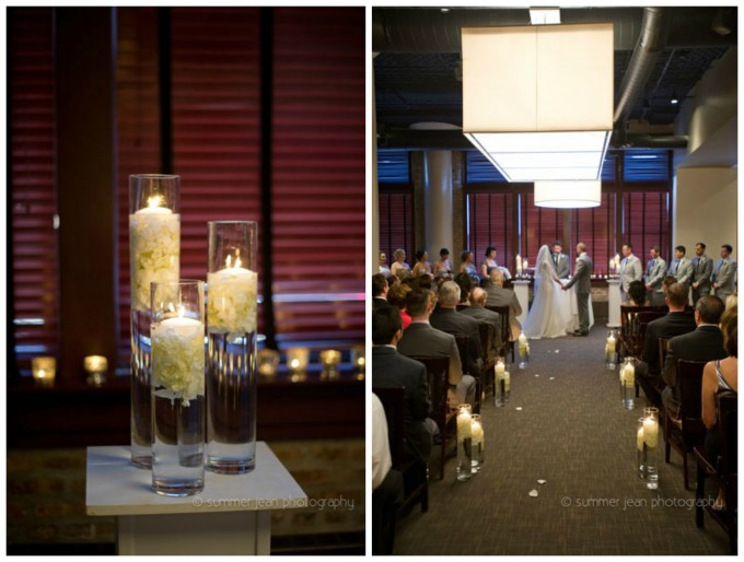 22. Fulton's On The River Wedding. Summer Jean Photography. Sweetchic Events. Larkspur. Candle Lit Ceremony. Hurricane Candle Lined Aisle.