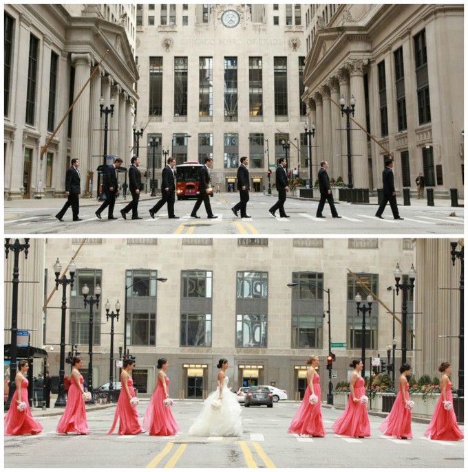 32. Germania Place Wedding. Kenny Kim Photography. Sweetchic Events. Wedding Party. Chicago Financial District. Board of Trade. Beatles Crosswalk.