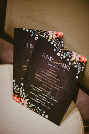1. Intercontinental Ohare Wedding. Fragola Productions. Sweetchic Events. Chalkboard Invitations with florals.