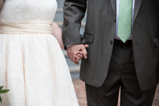 15. Keith House Wedding. Historic Home Wedding. The Way We Click. Sweetchic Events. Bride and Groom holding hands.