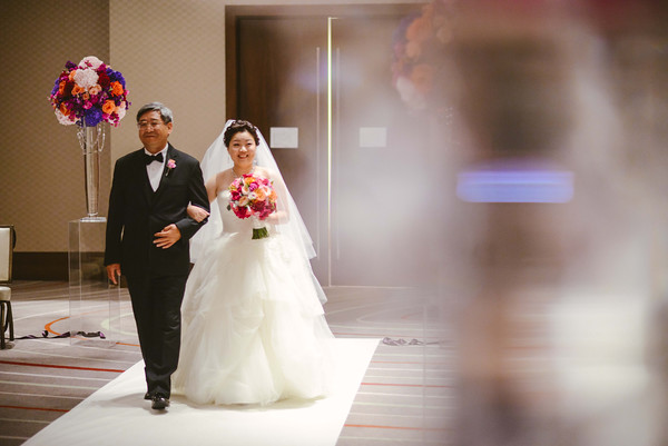 18.  Intercontinental Ohare Wedding. Fragola Productions. Sweetchic Events. Bride walking down aisle.