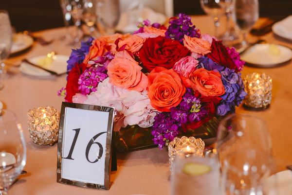 23.  Intercontinental Ohare Wedding. Fragola Productions. Sweetchic Events. Vale of Enna. Low and lush centerpiece. square vase. hydrangea, roses, stock,orchid