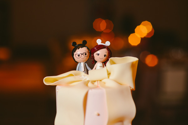 26.  Intercontinental Ohare Wedding. Fragola Productions. Sweetchic Events. Cake Topper. Bride and groom with mickey mouse ears.