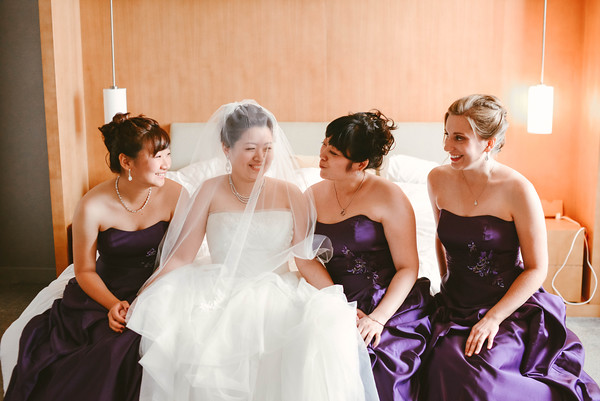 4.  Intercontinental Ohare Wedding. Fragola Productions. Sweetchic Events. long Purple bridesmaid dresses.