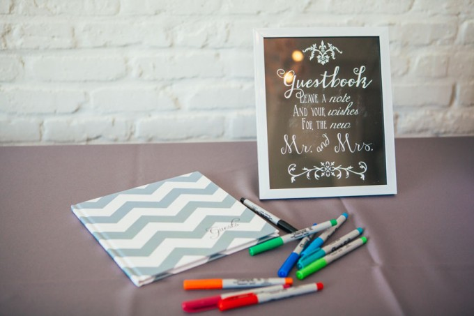 23. Room 1520 Wedding. Sweetchic Events. Studio Finch. Chevron Guestbook. Chalkboard Sign.